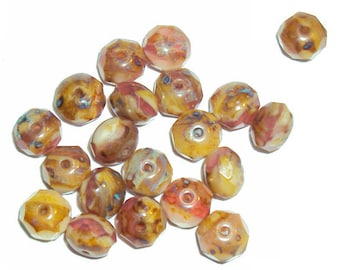 Czech Glass Beads, Faceted Rondelle 6 x 8, Picasso, Mocha Rose, 12 Beads