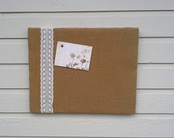 Burlap and Lace Bulletin or pin Board, Memo or Vision, gold burlap with ecru lace, for photo and card display, cabin decor