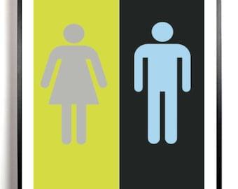 Bathroom Art Print, Bathroom wall decor, Lime Green and black, restroom sign, his and hers bathroom