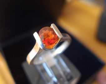 Marvelous Francisco Saya Mexican Fire Opal on Sterling Silver Ring