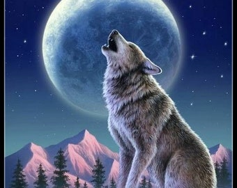 Counted Cross Stitch Patterns Needlework for embroidery - A Howling Wolf