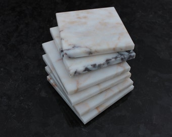 Coasters Set of Six From Natural Stone Afyon White Marble