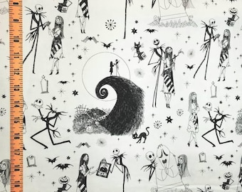 Nightmare Before Christmas Jack and Sally in black and white