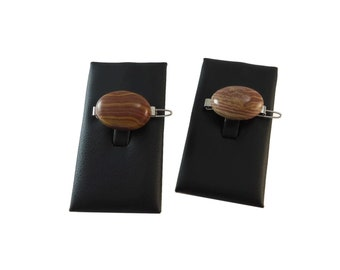 Two Tone Brown Hair Clips Small, Brown Natural Stone Barrette Set, Pebble Hair Accessories for Women, Brown Oval Hair Clip Stone Accessories