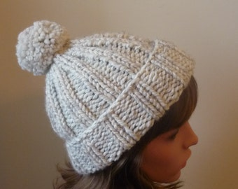 Chunky Knit Hat with Pompom and Rolled Brim Warm Wool Blend Winter Hat in Wheat - Ready to Ship - Gift for Her