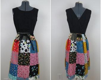 1960s Swirl Brand Dress   Vintage Wrap Dress with Patchwork Skirt - Bust 34 (B8)