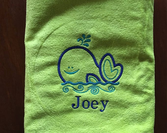 Whale beach towel, personalized beach towels, towels for kids and adults, embroidered towel, monogram, beach towel, pool towel, 30 x 60