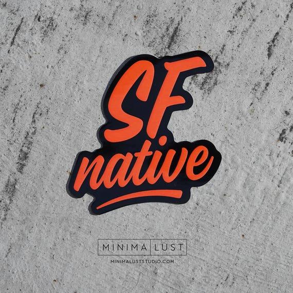 Sf native die cut sticker san francisco native black