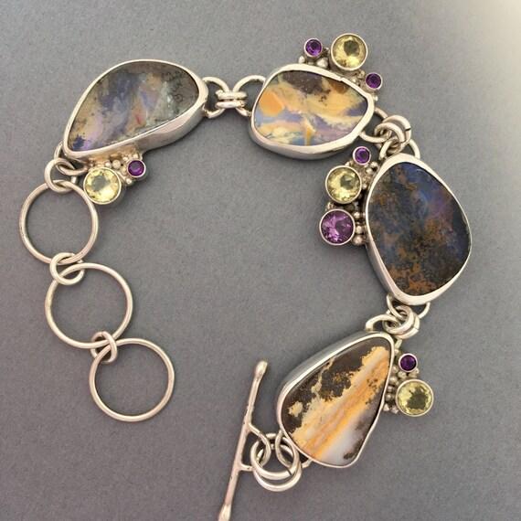 Boulder Opal, Amethyst, Lemon Quartz Bracelet