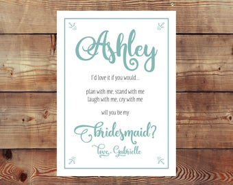 Personalized Printable Will You Be My Bridesmaid/Maid/Matron Of Honor Card Digital File. (Up to 8 Personalized Digital Files at This Price).