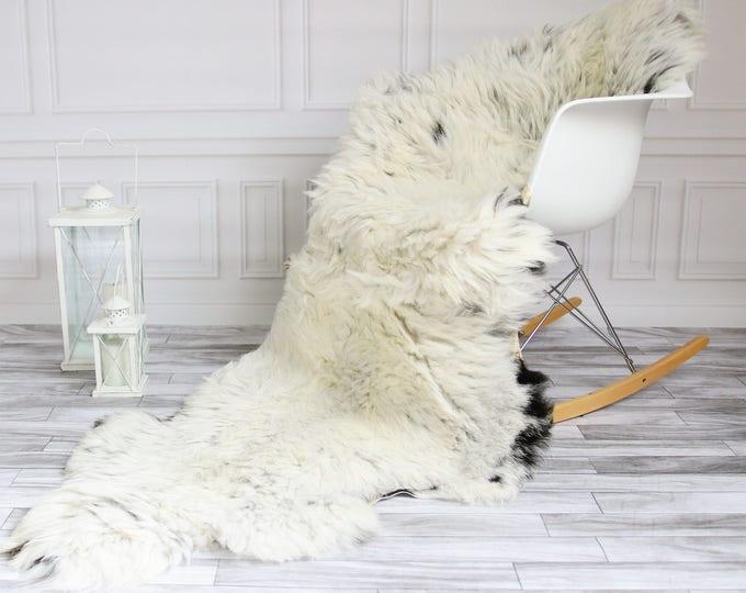 Organic Sheepskin Throw | Gray Beige Throw | Gray Sheepskin Rug | double Sheepskin Rug | 200X 80