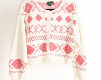 90s Rustic Slouchy Sweater Cream White Pink Geometric Hand Knit Sweater Boyfriend Cardigan Jumper My So Called Life Style Grunge Hipster S M