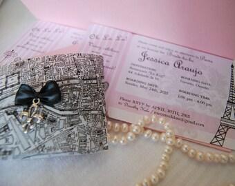 Parisian Themed Boarding Pass Bridal Shower Invitation