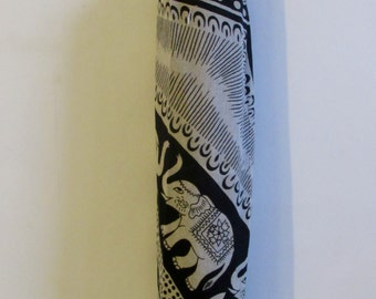 Yoga Mat Bag Pilates Mat Bag handmade Indian Tribal Elephant Bespoke White Black (b53) Free Gift Choice Free UK Delivery