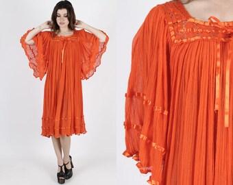 Orange Dress Gauze Dress Angel Sleeve Dress Mexican Dress Vintage 80s Floral Crochet Sheer Ethnic Kimono Sleeve Caftan Midi Mini Dress M