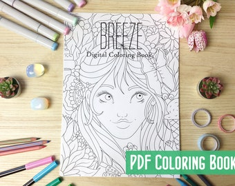 Breeze Digital Coloring Book PDF with 19 Printable Coloring Pages of Whimsical Girls Line Art to Color by Windy Iris