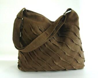 Sale - Brown Hemp/Cotton Messenger Bag, cross body, unique, diaper, stylish, purse,shoulder bag  - Rebecca
