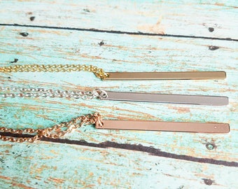 Personalized Skinny Bar Necklace - Rose Gold Bar Necklace - Gold Bar Necklace - Bridesmaid Gift - Personalized Christmas Gift - Skinny Bar