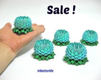 Sale! Lot of 5pcs Light Blue Color Small Origami Lotus. (RS paper series). #FLT-139.
