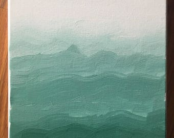 Minimalist Ombre Mountain Painting - Made to Order