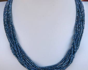 Teal Crystal Multistrand Convertible Necklace