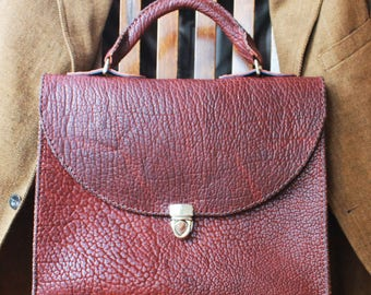 Benton Briefcase made in the USA by Beargrass Leather in Pebbled Bison in Saddle Brown (FREE shipping in USA) Perfect Gift for Fathers