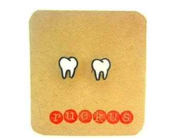 Tooth Stud Earrings, Tooth Jewelry, Teeth Earrings, Teeth Jewelry, Dental Earrings, Dental Jewelry, Dentist Earrings, Dentist Jewelry, Gift