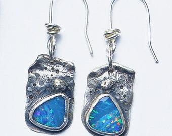 Sterling Silver. Australian Opal Doublet Organic Textured Earrings.925