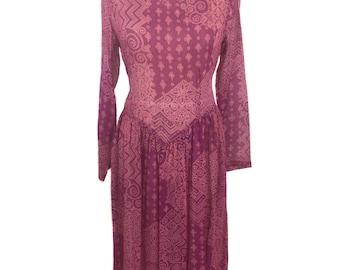 vintage 1970's ADINI Indian dress / pink / rayon / sheer dress / hippie boho bohemian Coachella / women's vintage dress / tag size P