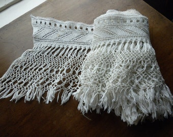 19th Century Cotton Hand Knitted Band with Knotted Fringe