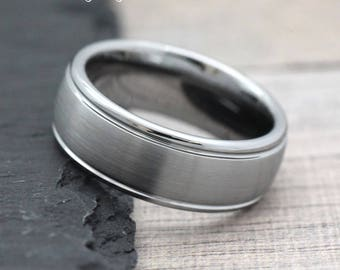 Promise Ring for Him, Wedding Ring with Engraving, Modern Wedding Ring, Mens Personalized Ring, Mens Wedding Band Tungsten