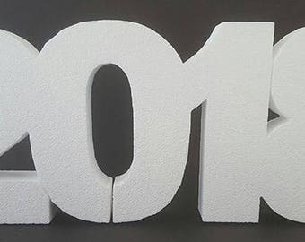 Foam Number 2018 for cake topper,New Years Eve, 2018 cut out, 2018 numbers,crafts,New Years Eve numbers,styrofoam, party decoration