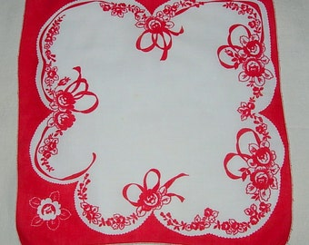 Vintage Red and White Handkerchief