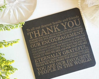Thank You Coasters, Letterpress Coasters, Wedding Coasters, Wedding Thank You Notes, Wedding Table Decor, Alternative Thank You Notes