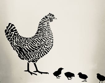 Hens and chicks wall decal