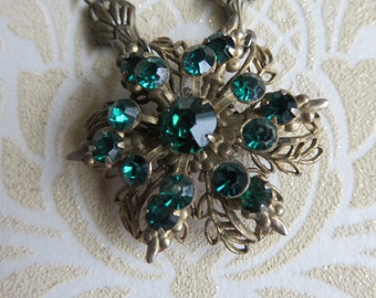 Vintage necklace emerald green rhinestones on gold tone filigree   repurposed vintage necklace handcrafted beaded necklace, bespoke necklace