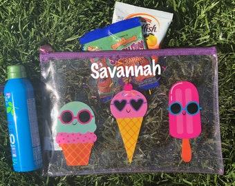 Personalized Beach Bag. Swim Suit Bag. Bathing Suit Bag. Ice Cream. Kid's Beach Bag.
