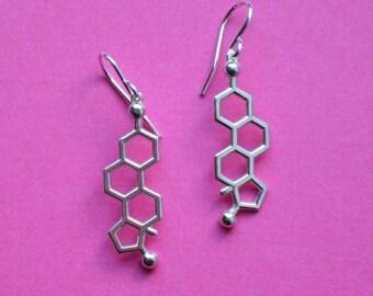 estrogen molecule earrings in solid sterling silver