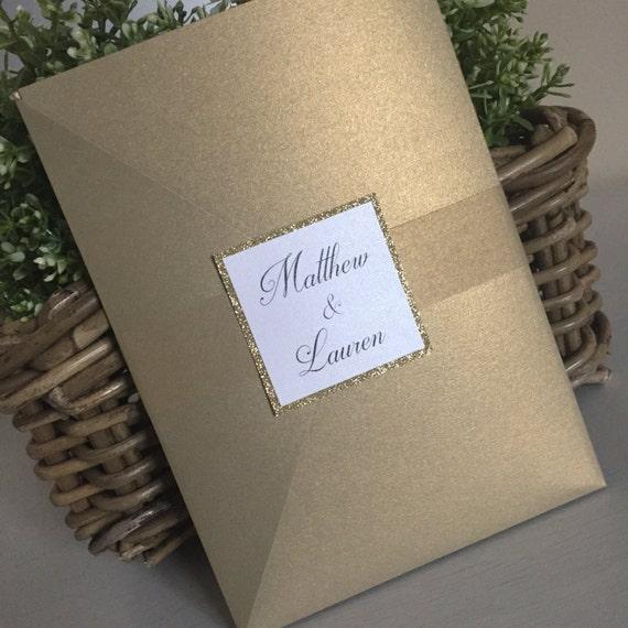 Goldene Hochzeitseinladung / Gold Hochzeit Einladung / Glitzer