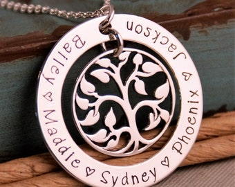 Personalized Washer / Hand Stamped Mommy Necklace / Personalized Jewelry / Sterling Silver Family Tree Pendant - My Family (Big Washer)