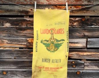 Vintage Land O Lakes Seed Sack, Yellow Ranger Alfalfa Linen Seed Bag