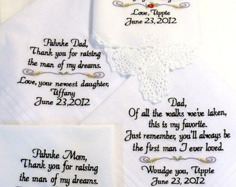 Embroidered Wedding Hankerchiefs Wedding Gift Hankerchief For Your Family Personalized Wedding Gifts Personalized Sayings Canyon Embroidery