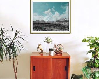 Large Wall Art, Mountain Photography, Landscape Print, Blue Wall Art, Scotland Art, Oversized Art, Turquoise Abstract, Black White, Blue Art
