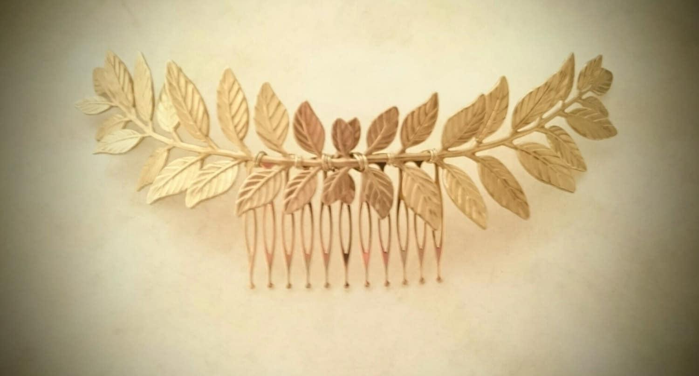 large laurel leaf hair comb gold leaf hair comb bridal hair