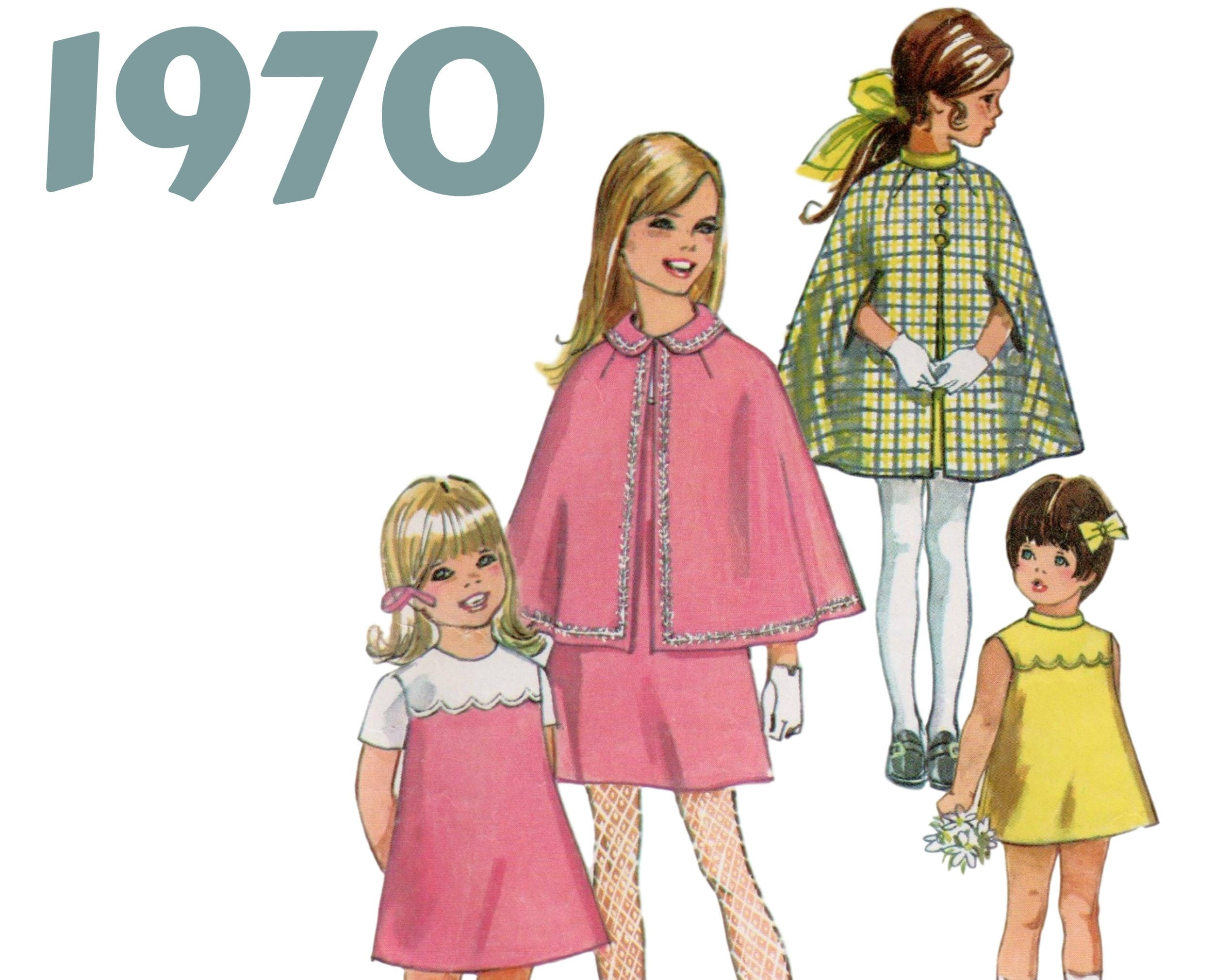 Chicas Mini vestido y patrón cabo niñas Mod equipo simplicidad 8719 ...