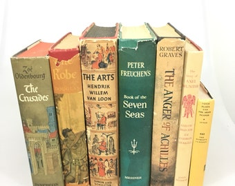 DECORATIVE Eclectic Antiqued Set of Books With Dust Jackets for Display