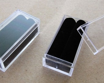 Black Rectangle Clear Tufted Acrylic Bead/Gem Storage Boxes 50 QTY