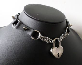Studded PU Leather Heart Padlock Choker with O-Ring Details - Discrete Locking Gothic Day Collar