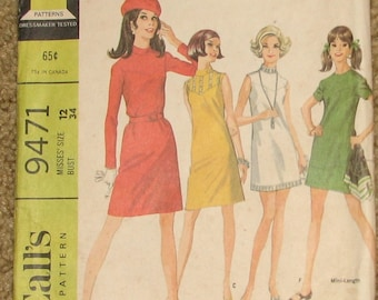 Front Yoked Mini Dress 1960s Vintage Sewing Pattern MCCALLS 9471