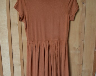 Burnt Orange Earth Copper T Shirt Mini Dress Monsoon 38 40 S M L